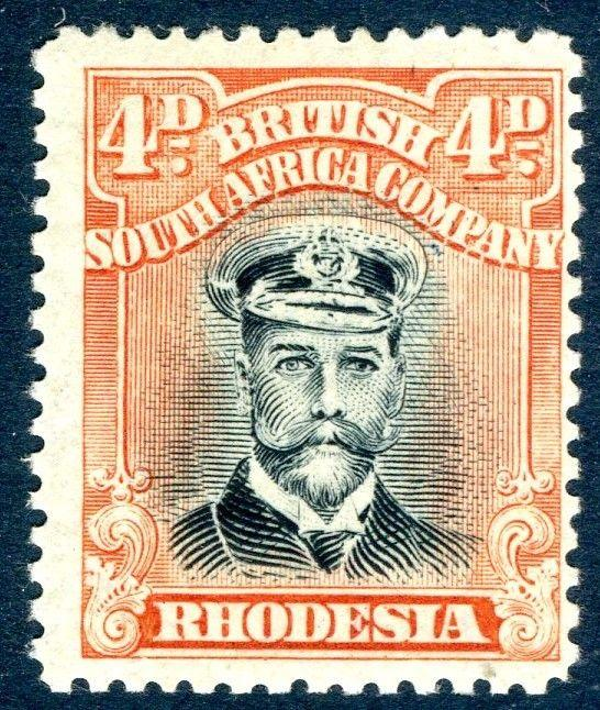 RHODESIA-1919 4d Black & Dull Red Sg 262 LIGHTLY MOUNTED MINT V18568