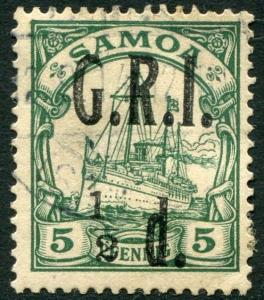 SAMOA-1914 ½d on 5pf Green with 1 to left of 2 in ½ Sg 102e V22008