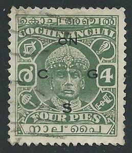 INDIA COCHIN 1942-43 4p green perf 11 SG054 fine used......................45351