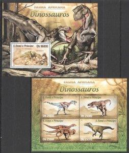ST1738 2013 SAO TOME & PRINCIPE PREHISTORIC ANIMALS DINOSAURS KB+BL MNH