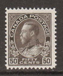 Canada Sc 120 MLH. 1925 50c black brown Admiral F-VF