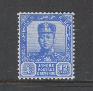 Malaya, Johore Sc 111A MNH. 1940 12c Sultan Ibrahim on Chalky Paper, Key Value