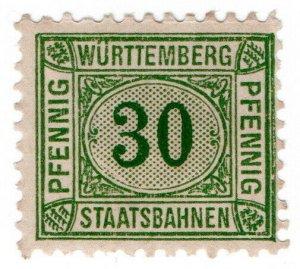 (I.B) Germany Railway : Wurttemburg Staatsbahnen 30pf