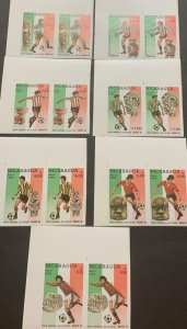 A) 1986, NICARAGUA, FOOTBALL, WORLD CUP, MEXICO, AIRMAIL, MNH