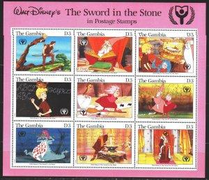 Gambia. 1991. Small sheet 1102-10. Year of Education, Animation, Disney. MNH.