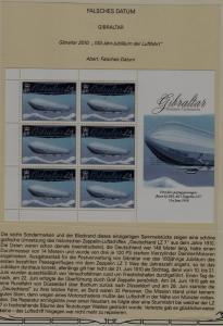 Gibraltar 1240 MNH m/s Zeppelins, error-wrong date