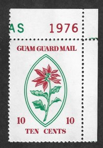 GUAM Guard Mail  Mint NH Local Post 1976 Christmas Poinsetta Plant