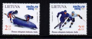 Lithuania Sc 1016-17 2014 Sochi Winter Olympics stamp set mint NH