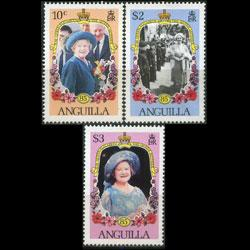 ANGUILLA 1985 - Scott# 619-21 Queen Mother Set of 3 NH