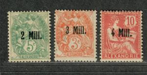 Fr. Off Alexandria Sc#31-3 M/H/F-VF, Partial Set, First Three Issues, Cv. $28.75