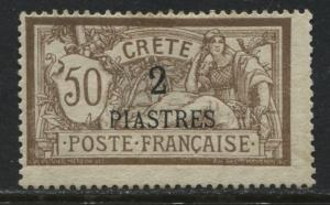 France Offices in Crete 1903 2 piasters on 50¢ mint o.g.