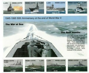 Sierra Leone MNH S/S 1803 The War At Sea Battleships 8 Stamps