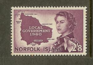 Norfolk Island, Scott #42, 2sh8p Map of Norfolk Island, MH