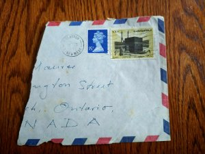EXT RARE 1980 GB STAMP MIXED FRANKING SAUDI ARABIA STAMPS PART COVER TO CANADA