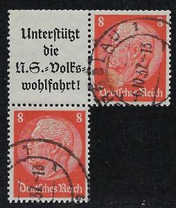 Germany Scott # 420 (2), label A8a, used, se-tenant, Mi# S131