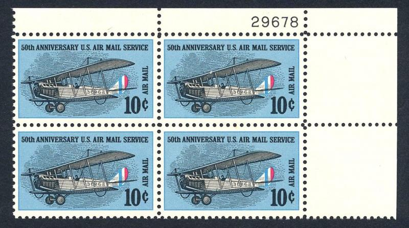 US C74 = 10c 50th Anniversary Air Mail Service - Plate Block of 4