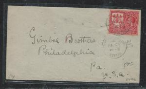 BRITISH HONDURAS (P1106B) 1921 KGV 2C COMMEM TO GIMBEL BROS PHIL, PA USA