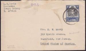 KENYA UGANDA TANGANYIKA 1940 cover ex Kijave - local censor tape...........19199