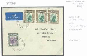 Y194 1949 NORTH BORNEO Sandakan/Aberdeen Scotland {samwells-covers}