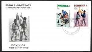 Dominica Sc#472-73 1976 DOMINICA AMERICAN REVOLUTION FDC