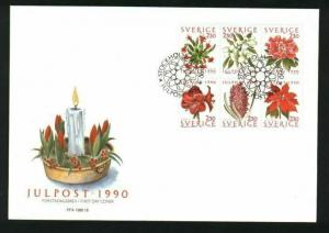 Sweden.  FDC Cachet 1990 Christmas Stamps. Christmas Flowers