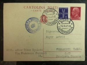 1943 Spalato Italy Postcard Cover to Ferramonti Concentration Camp Astrid Mayer