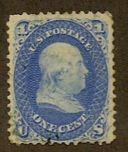 63b Used, 1c. Franklin,  Green Cancel, scv: $800+$250