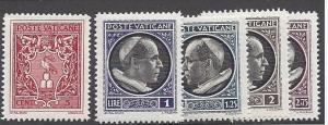 Vatican, 72-76, Coat of Arms/Pope Pius XII Singles, **MNH**