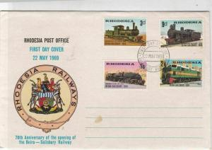 rhodesia 1969 70th anniv of beira-salisbury railway fdc stamps cover ref 20633