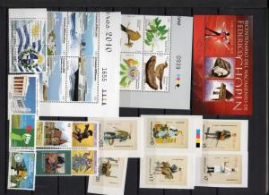 Uruguay MNH stamp collection complete year set 2010 to 2014  Catalog value $800