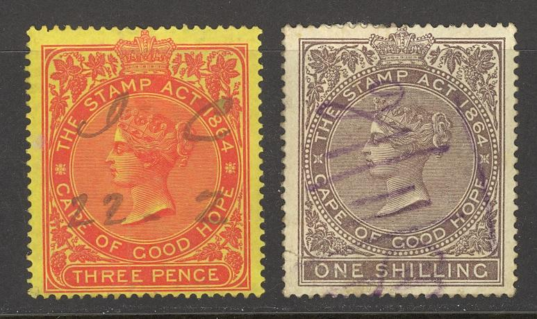 Cape of Good Hope Used Lot/2 1864 Revenues, 3d, 1s
