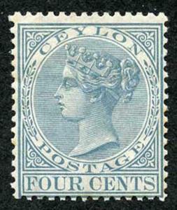 Ceylon SG122 4c Grey Wmk Crown CC Perf 14 Mint (hinge remainder)