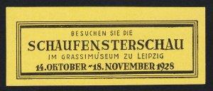 REKLAMEMARKE POSTER STAMP GERMANY BESUCHEN SIE DIE SCHAUFENSTERSCAU 1928