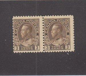 CANADA (MK6706) # 108  FVF-MNH  3cts  1918 KGV ADMIRAL PAIR /BROWN CV $75
