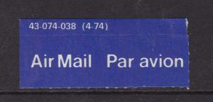Airmail/Par Avion Airmail Sticker 43-074-038(4-74) Used VGC