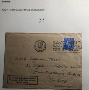 1948 York England Navy Army & Air Force Institutes Cover To Rugby Perfin Stamp