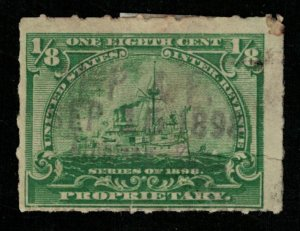1898, Battleship, USA, Inter. Rev. Proprietary, 1/8 Cent, SC #RB20 (T-9300)