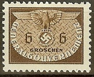 Stamp Germany Poland General Gov't Official Mi 16 Sc NO16 1940 WW2 War Era MH