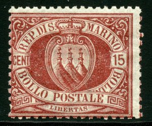 SAN MARINO SCOTT#15  MINT HINGE REMNANT --SCOTT VALUE $170.00