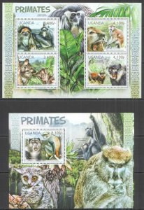 UG056 2012 UGANDA PRIMATES MONKEYS WILD ANIMALS FAUNA #2815-8+BL380 MNH