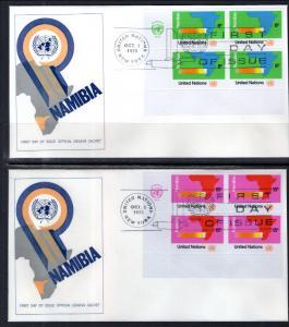 UN New York 240-241 Namibia Plate Blocks Geneva Set of Two U/A FDC