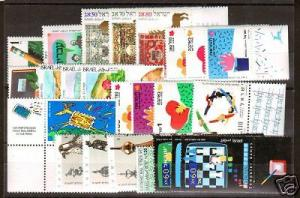 Israel Sc 1026/1070 MNH. 1989-90 issues 12 sets w/ tabs