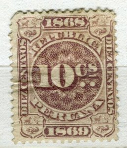 PERU; 1860s early classic Revenue issue mint unused 10c. value