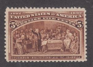 US Sc 234 MNH. 1893 5c chocolate Columbian, fresh & F-VF