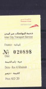 OLD TRANSPORTATION TICKET BUY BUS FROM DUBAI TO RAK UAE