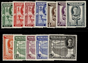 SOMALILAND PROTECTORATE GVI SG105-116, complete set, M MINT. Cat £50.