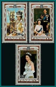 Penrhyn Island 1977 Silver Jubilee, MNH #87-89,SG100-SG102