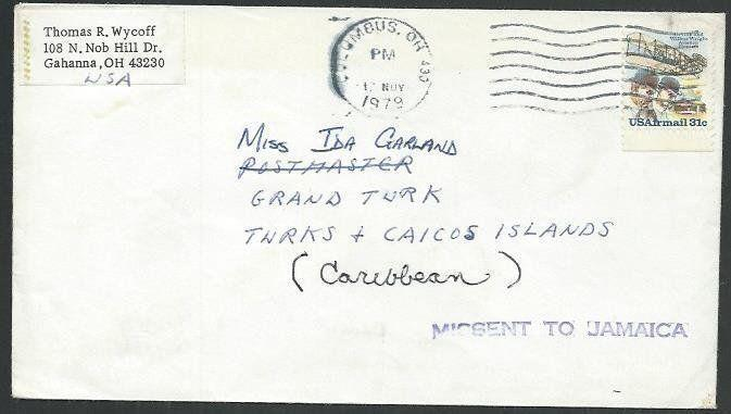 Missent To Jamaica 1979 Cover Usa Turks Is 64347 Hipstamp