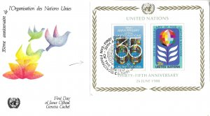 1980 FDC, #324 (NY), 35th Anniversary S/S, Official Geneva
