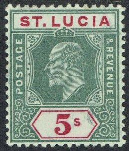 ST LUCIA 1904 KEVII 5/-